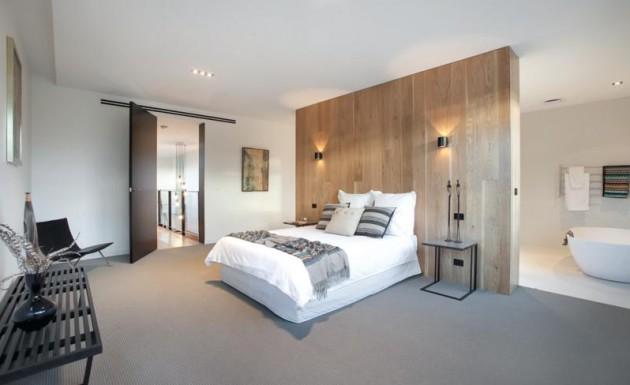 Фото: деревянная перегородка в спальне индустриального стиля