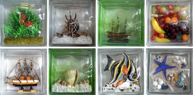 Фото: стеклоблоки с декорирующими элементами внутри
