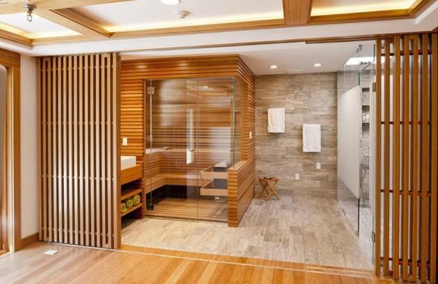 Фото: деревянная перегородка в ванной