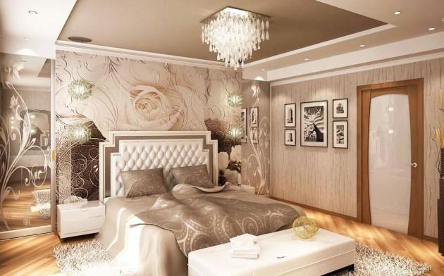 Фото: сочетание обоев и фотообоев в интерьере спальни