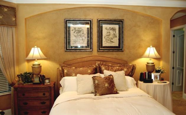 Фото: отделка ниши декоративной штукатуркой в интерьере спальни