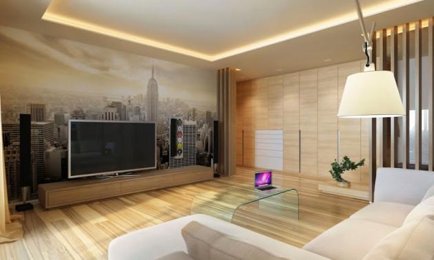 Фото: сочетание бамбуковых обоев и фотообоев в интерьере гостиной