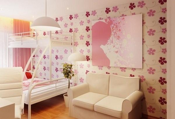 Фото: обои с цветами в комнате для девочки