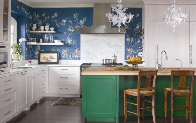 Фото: темно-зеленое или темно-синее оформление.кухни подойдет людям, склонным к ожирению