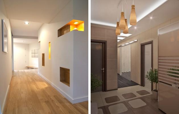 Фото: многоуровневые потолки в интерьерах прихожих минималистического стиля