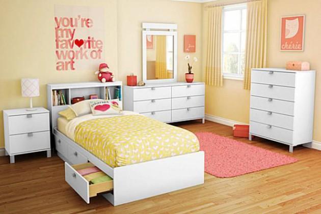 Фото: кровать с выдвижными ящиками для хранения вещей станет отличным решением для небольших комнат