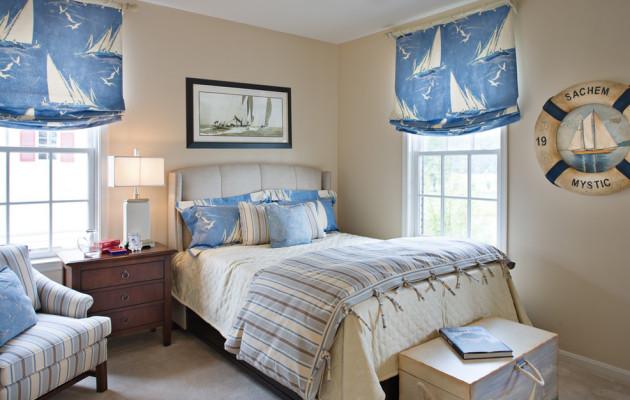 Фото: шторы в детской комнате морского стиля