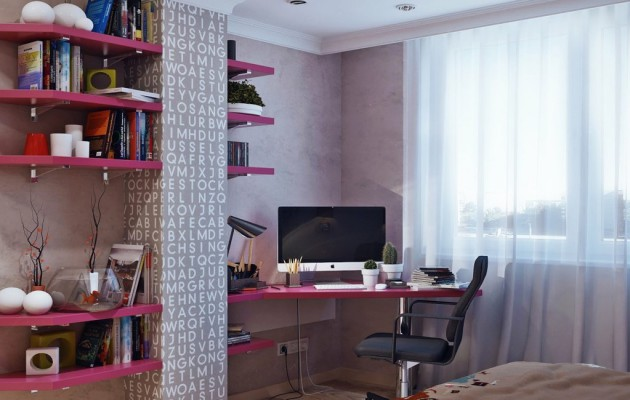 Фото: рабочее место в интерьере спальни для девочки