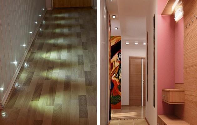 Фото: точечная подсветка пола и потолка