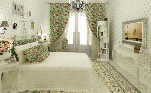 Фото: цветочные принты в интерьере спальни