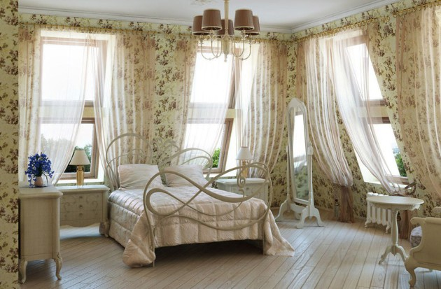 Фото: кровать с узорчатым металлическим изголовьем