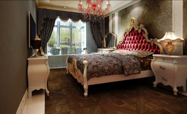 Фото: массивная кровать с резными ножками и изголовьем в спальне классического стиля