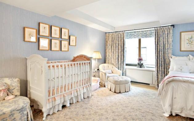 Фото: выделение зоны кроватки с помощью настенных картин