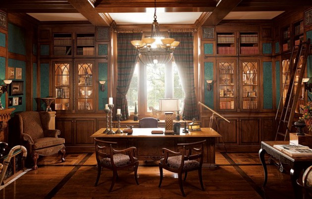 Фото: рабочий кабинет в классическом стиле