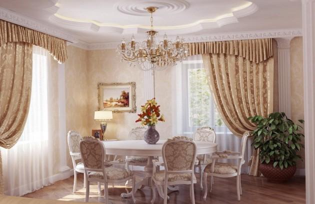 Фото: декорирование столовой лепниной