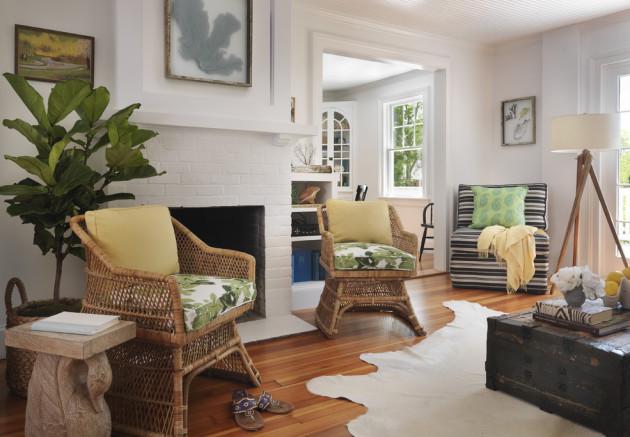 Дизайн гостиной с плетеной мебелью
