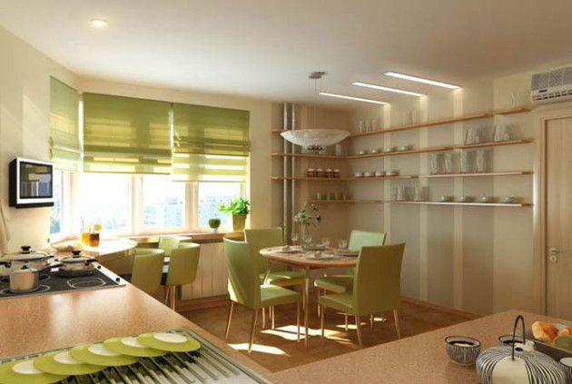Просторная кухня в зеленых тонах с римскими шторами