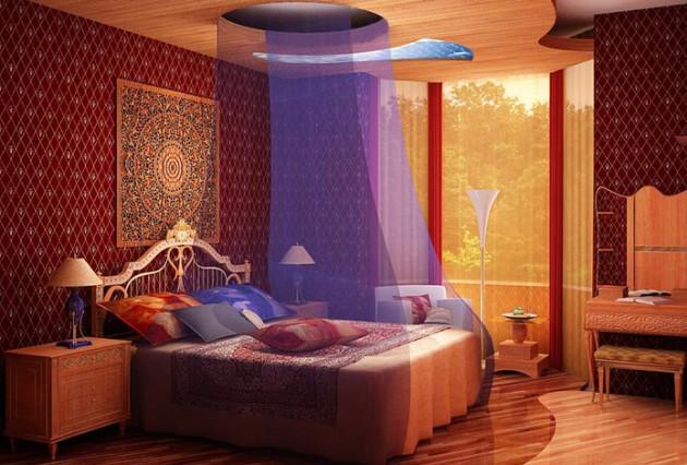 Вариант оформления кровати в спальне