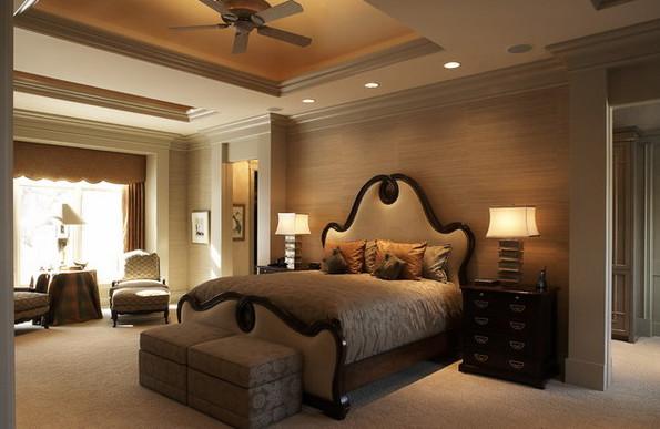 Дизайн спальни в тёплых тонах