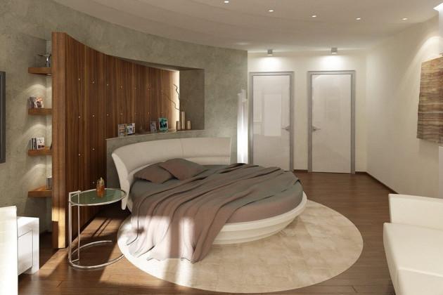 Дизайн просторной светлой спальни с круглой кроватью