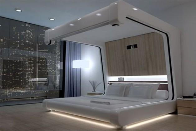Необычный дизайн спальни в стиле хай-тек