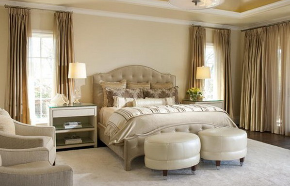 Идея интерьера спальни в бежевых тонах