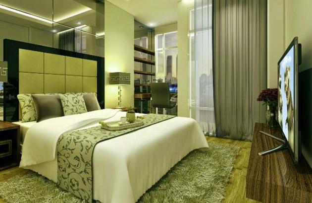 Дизайн спальни 2017 в зелёных тонах