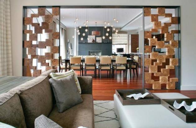 Деревянные перегородки в гостиной, оформленной в экостиле