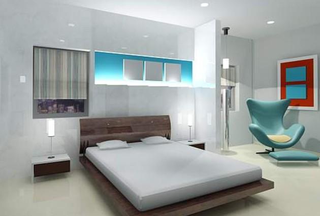 Дизайн хай-тек в интерьере спальни