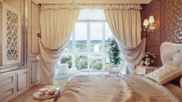Плотные белые портьеры в интерьере спальни