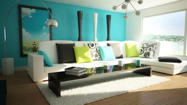 Яркие предметы декора в интерьере гостиной