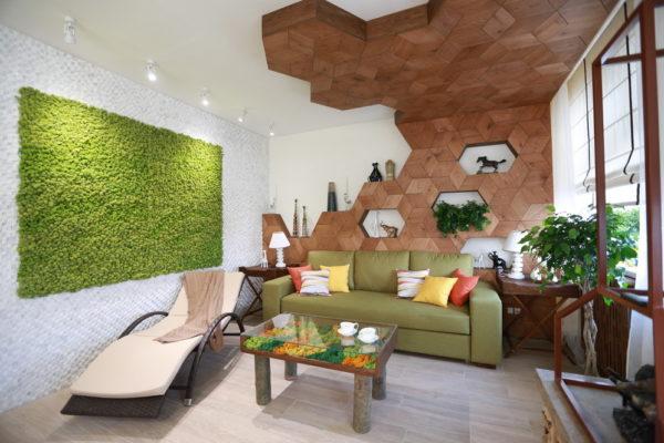 Экостиль в интерьере современной гостиной