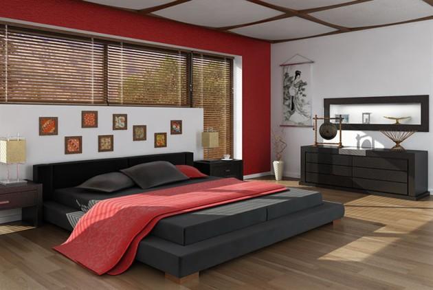 Дизайн спальни в красном и чёрном цветах