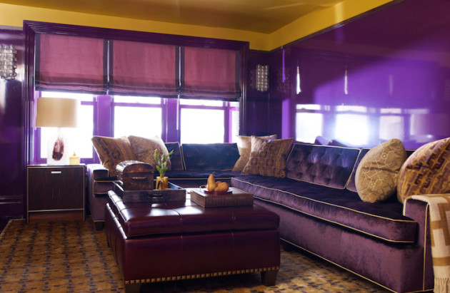Вариант оформления гостиной в фиолетовых тонах