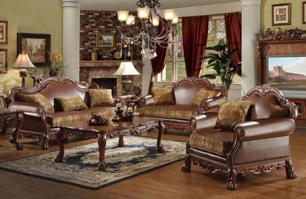 Интерьер гостиной с массивной мебелью