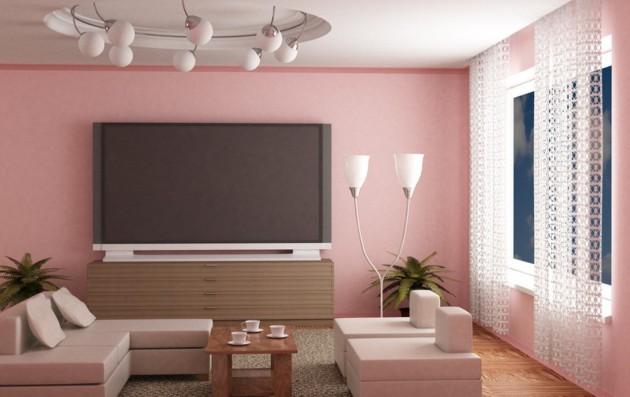 Интерьер гостиной в розовых тонах