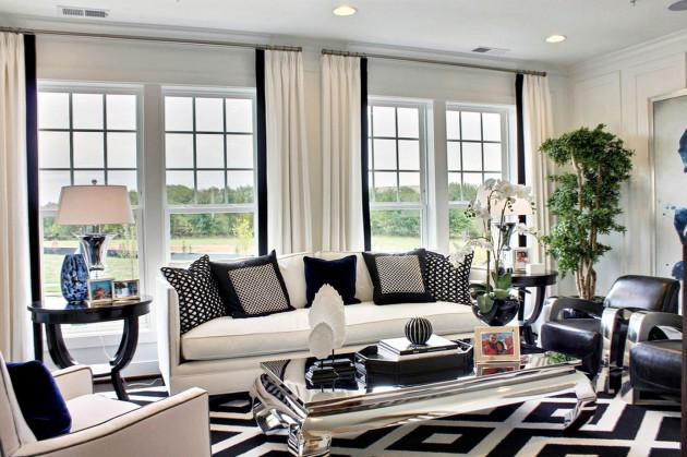 Дизайн большой гостиной с окнами