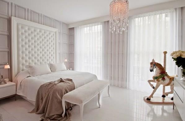 Дизайн штор 2017 из тюля для просторной светлой спальни