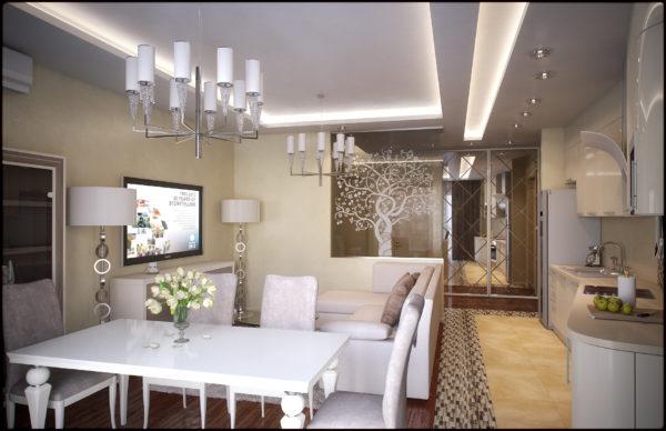 Вариант дизайн потолка с подстветкой