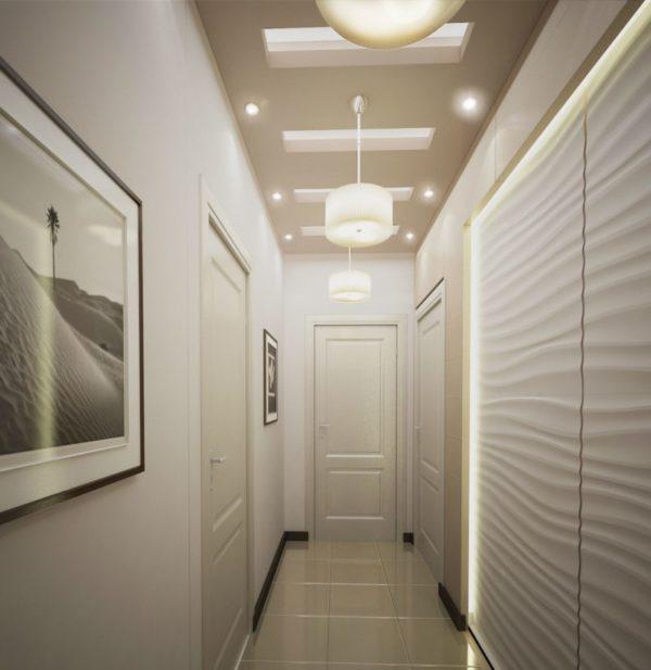 Вариант дизайна узкого коридора белого цвета
