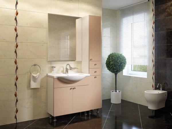 Современный дизайн ванной комнаты в чёрном и молочном тонах