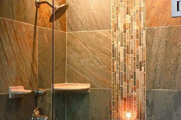 Плитка под натуральный камень в отделке ванной
