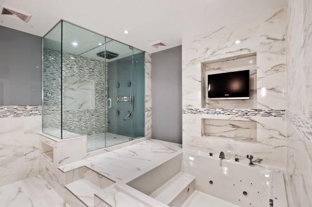 Плитка под мрамор в отделке ванной