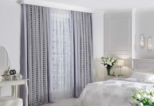Дизайн многослойных штор светло-серого цвета
