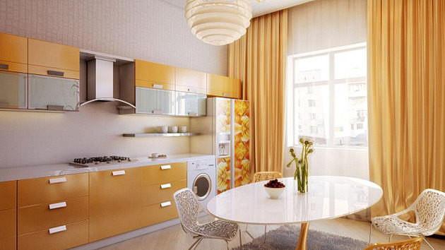 Тюль и плотные шторы жёлтого цвета на кухне