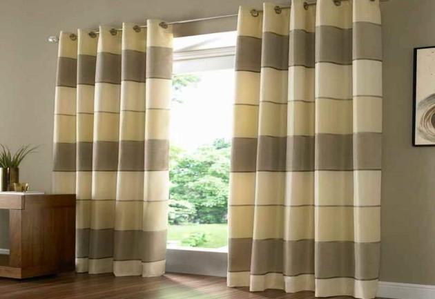 Дизайн штор из плотной ткани на люверсах