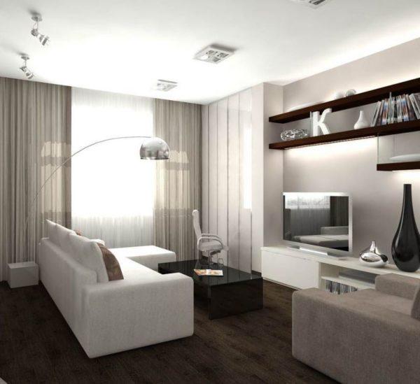 Гостиная в стиле минимализм со шторами серого и белого цветов