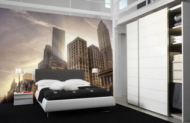 Дизайн спальни 2017 с фотообоями