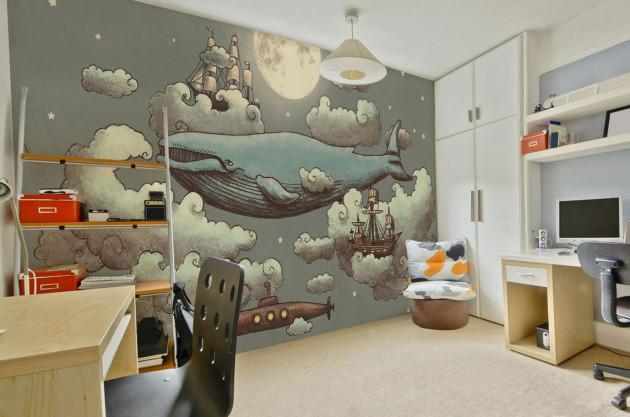 Дизайн фотообоев на морскую тематику в детской комнате