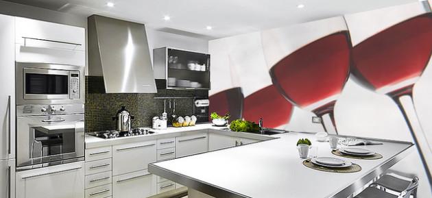 3D-обои в интерьере кухни 2017